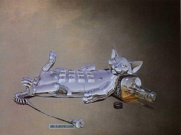 Кот телефон да еще и пьяный